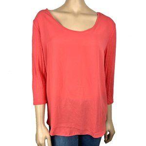 Loft Chiffon Front Long Sleeve T Shirt L